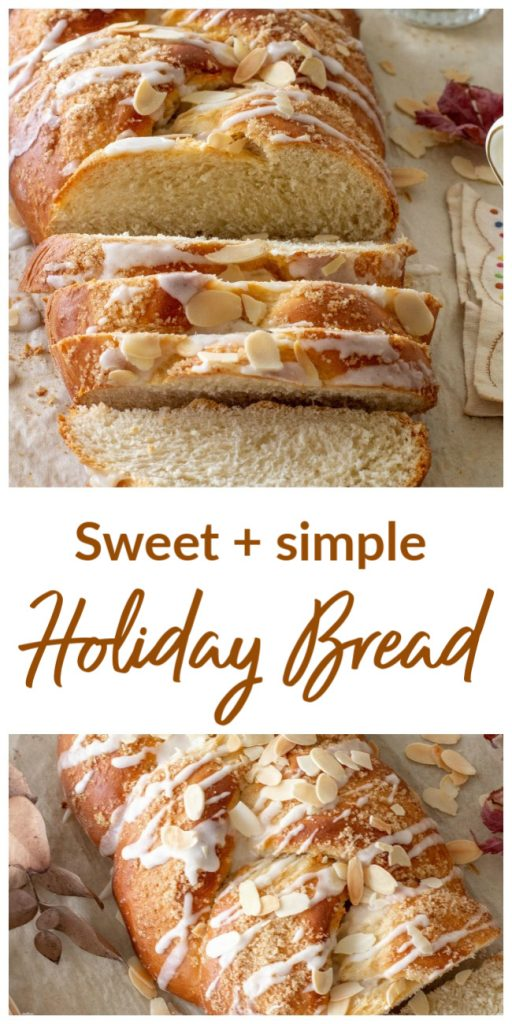Braided bread, slices and whole on parchment paper; image with text