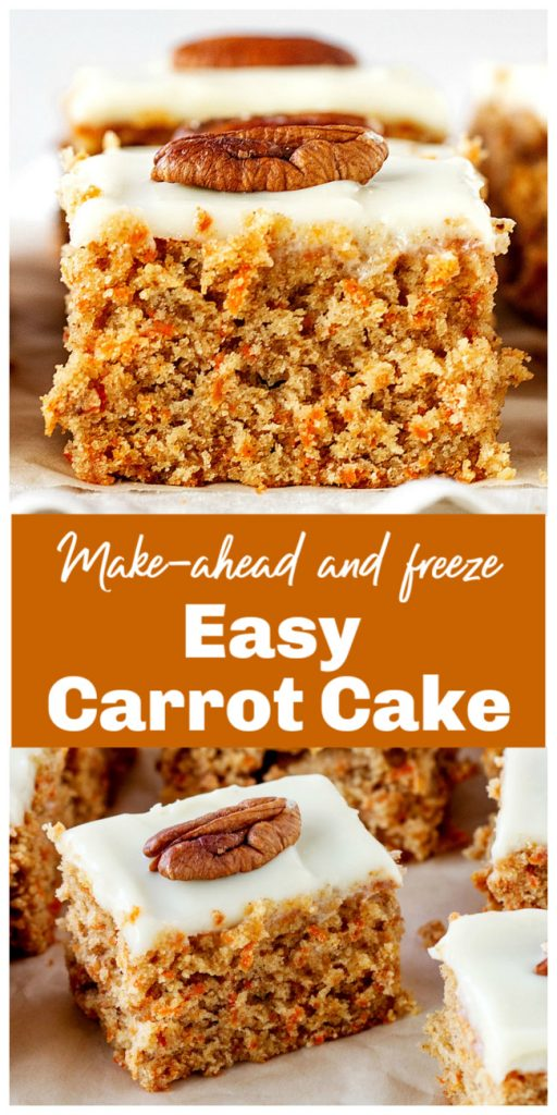 Squares of frosted carrot cake; image collage with text