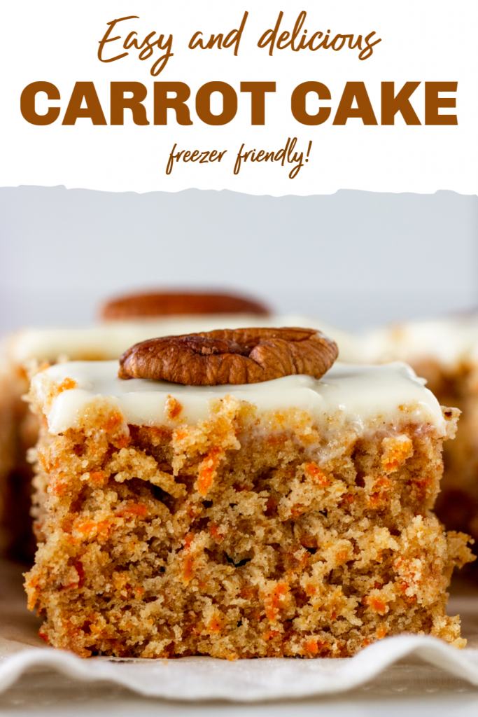 Square of frosted carrot cake; image with text
