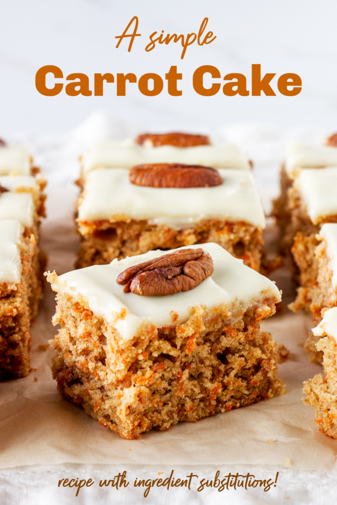 Squares of frosted carrot cake; image with text