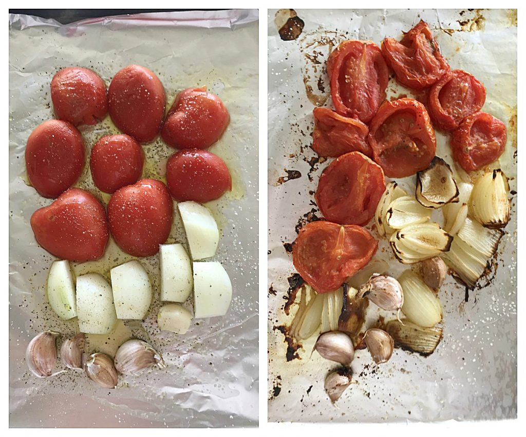 Image collage of before and after roasted tomatoes, onion and garlic on aluminum foil