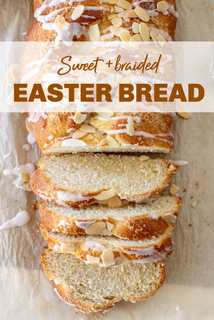 Easter braid, slices and whole on parchment paper; image with text