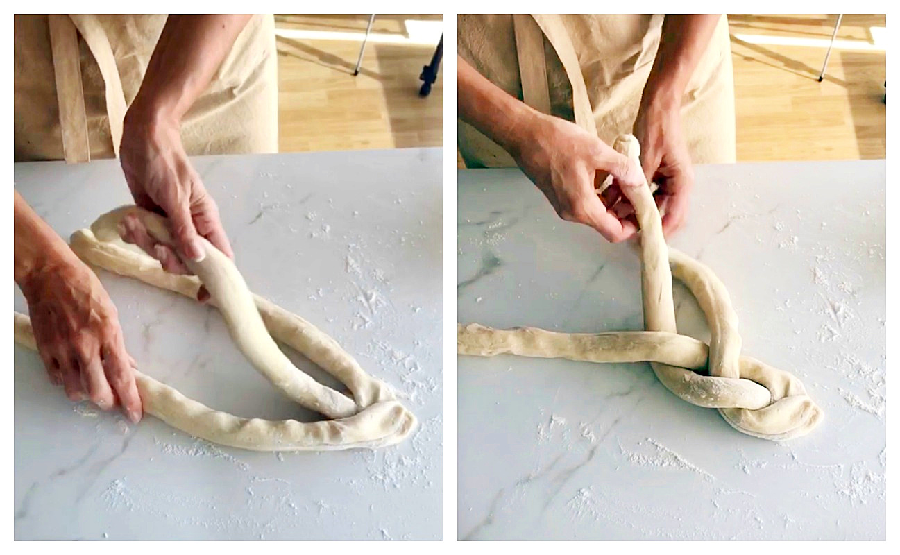 Image collage of hands making a braid with bread dough
