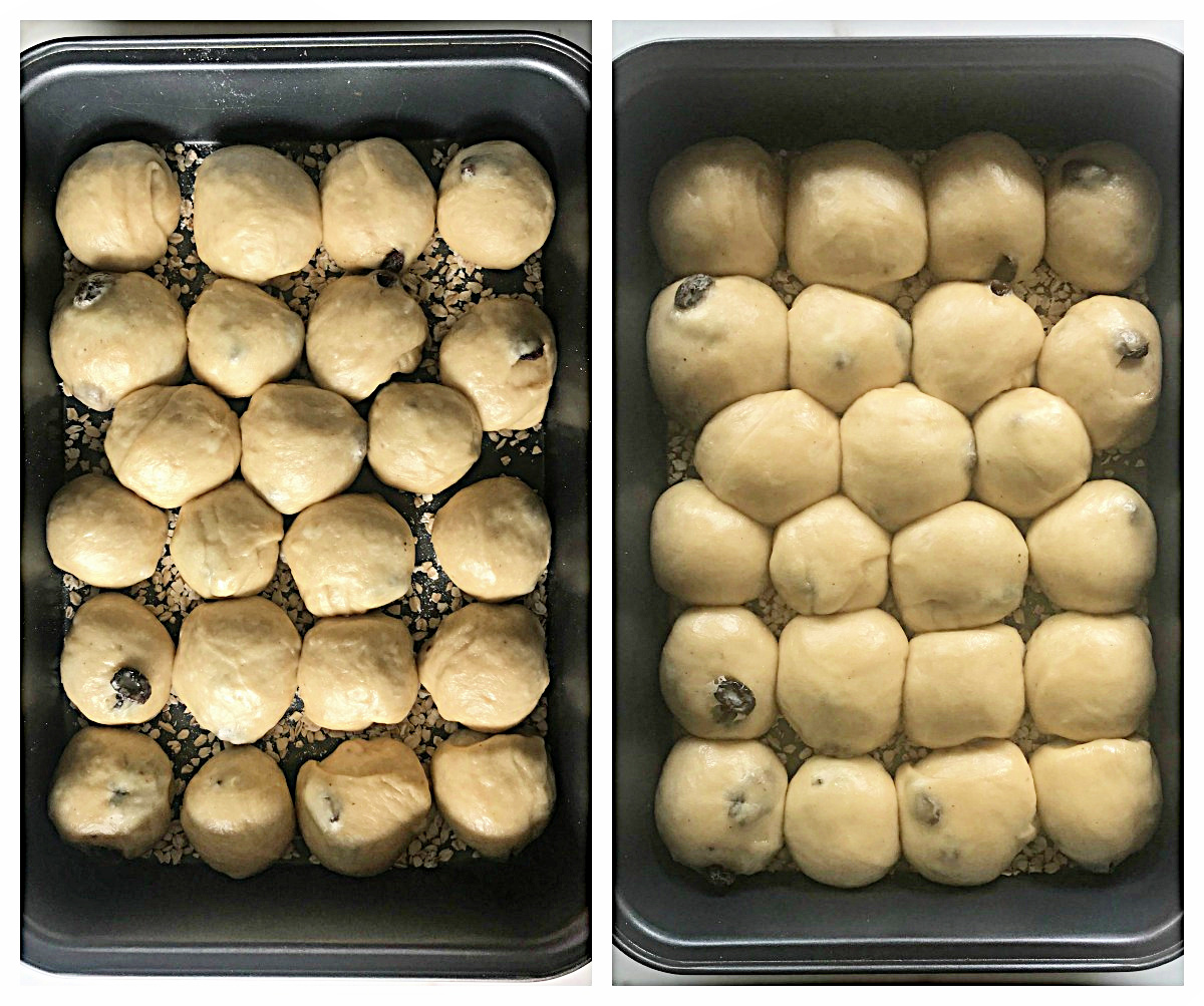 Metal pans with small buns, before and after leavening