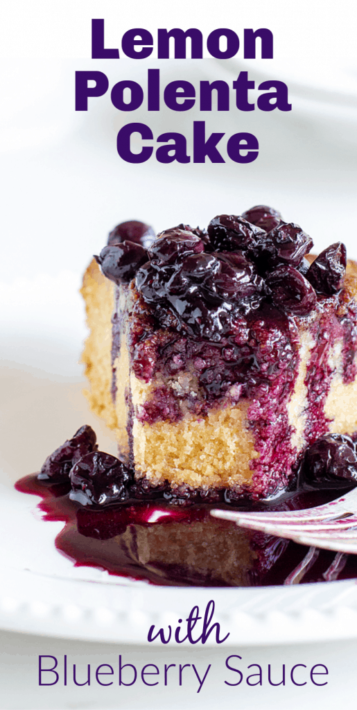 Slice of lemon cake with blueberry sauce, image with text