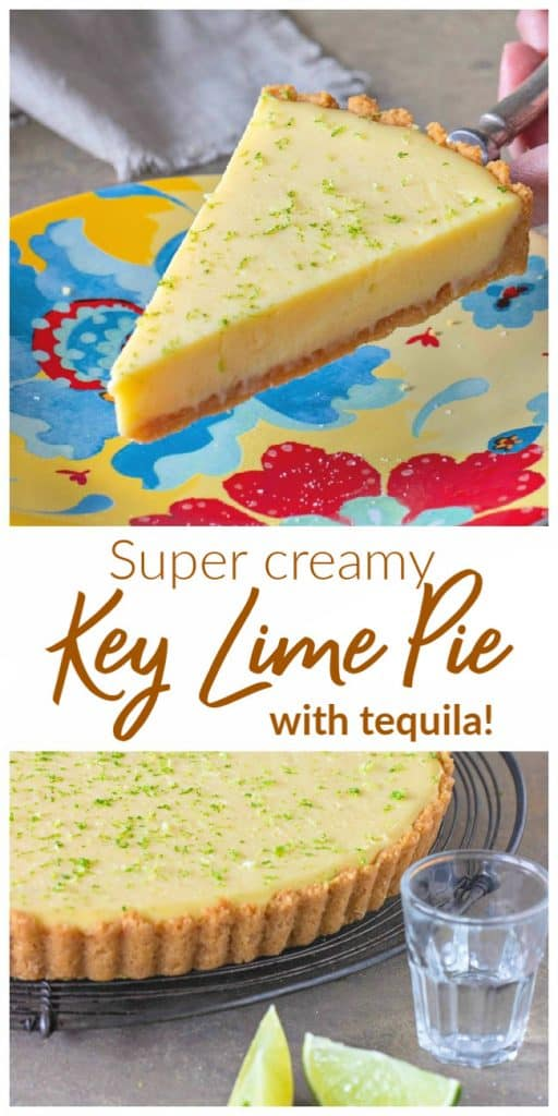 Slice of lime pie, colorful plate, whole pie in grey surface; image with text