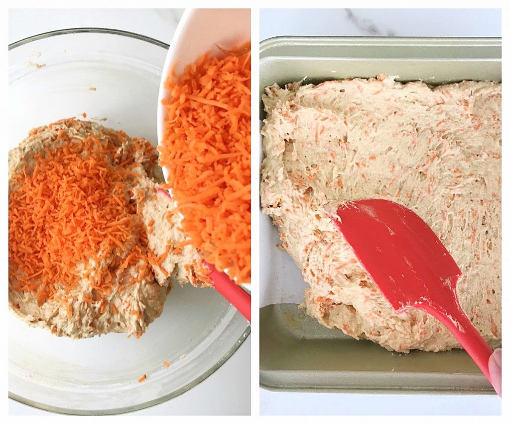 Image collage of grated carrots being added to cake batter. Red spatula, metal pan