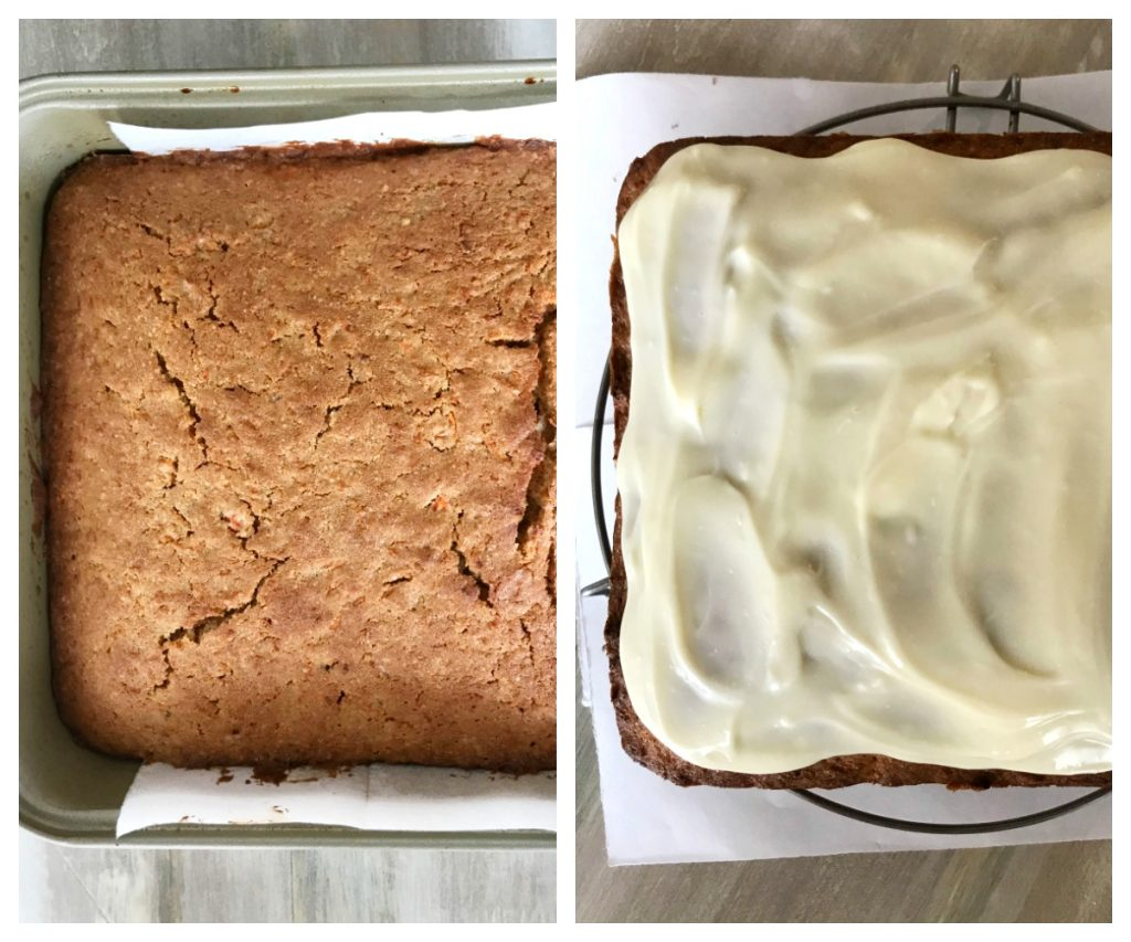 Image collage of square carrot cake with and without white frosting