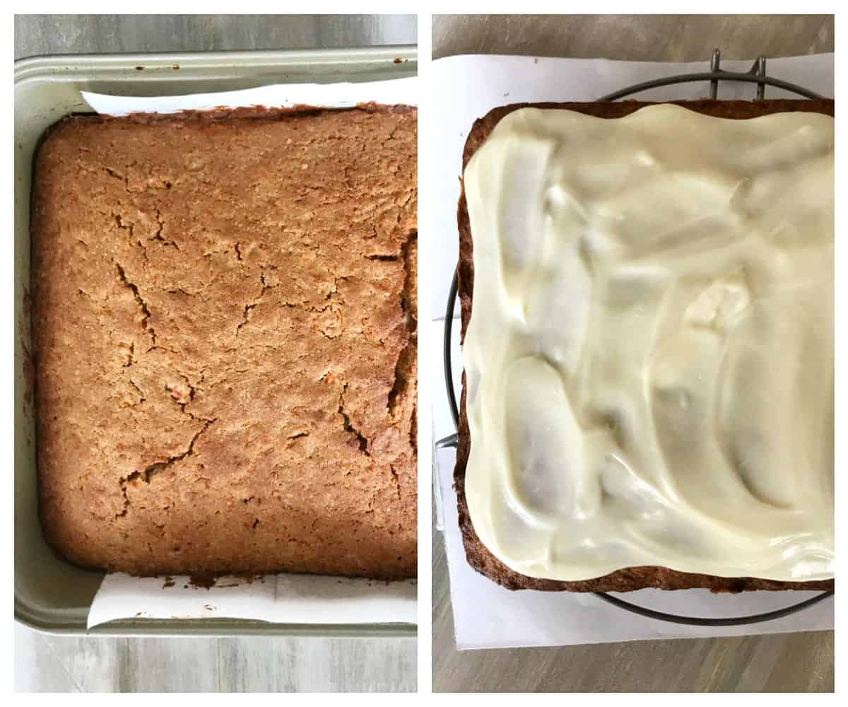 Two image collage of baked square cake in metal pan, with and without white frosting