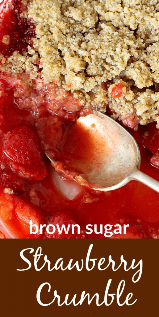 Silver spoon in dish with strawberry crumble, image with text