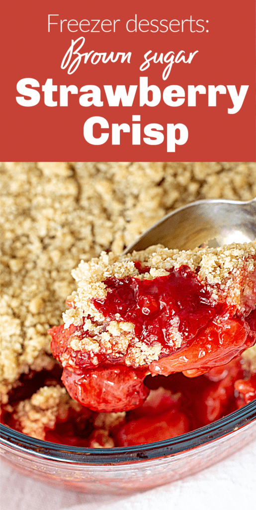 Strawberry crisp spooned from glass dish, image with text