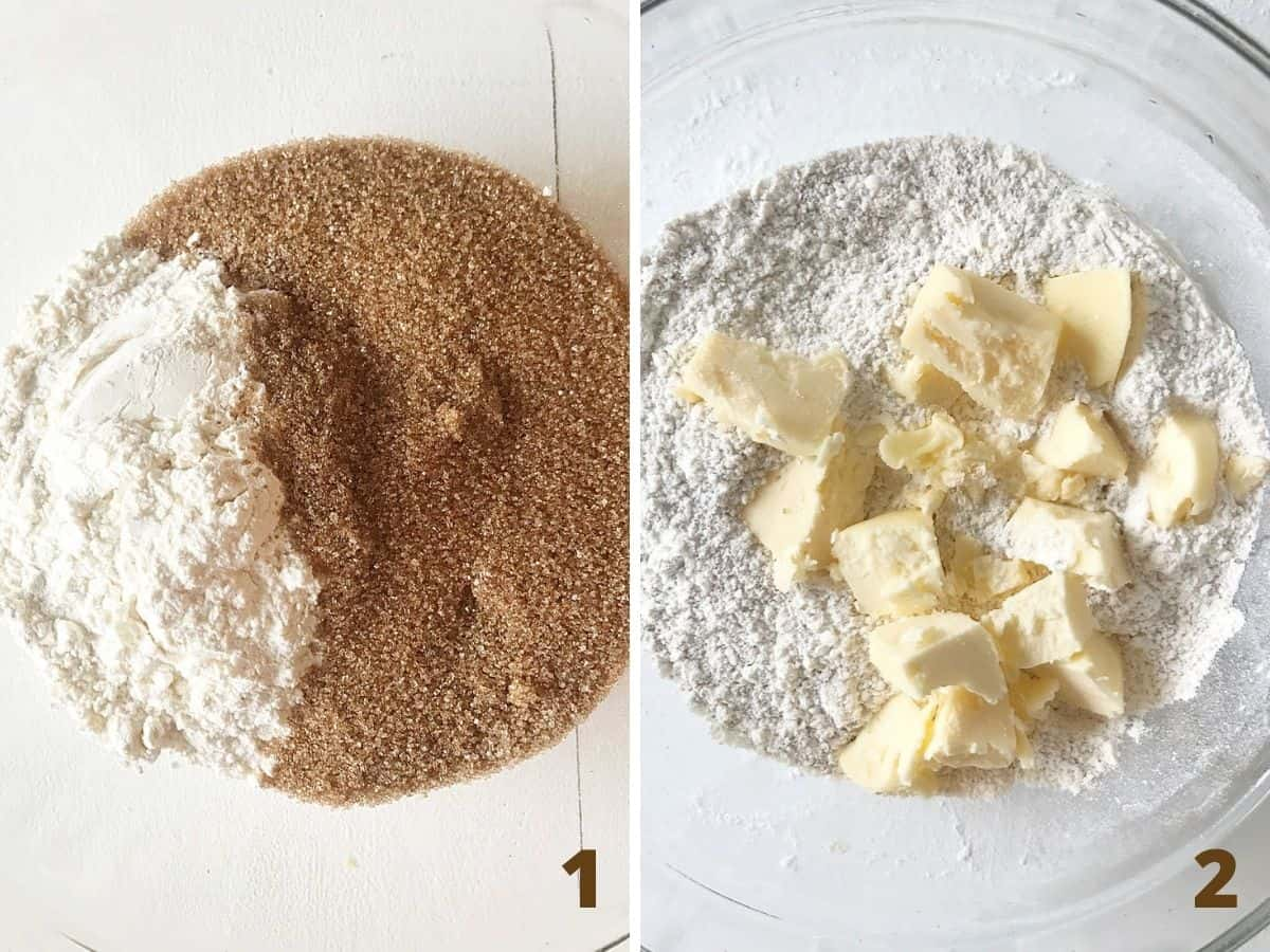 Collage showing glass bowl containing brown sugar and flour, after adding butter pieces