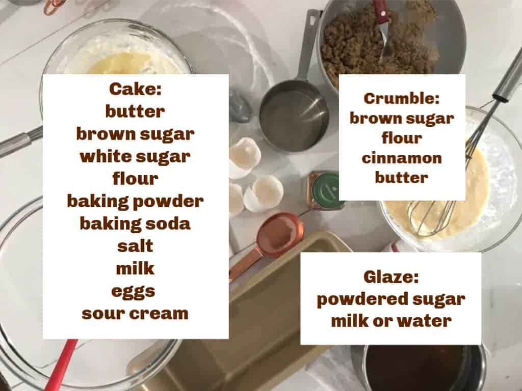 Image with text, coffee cake ingredients