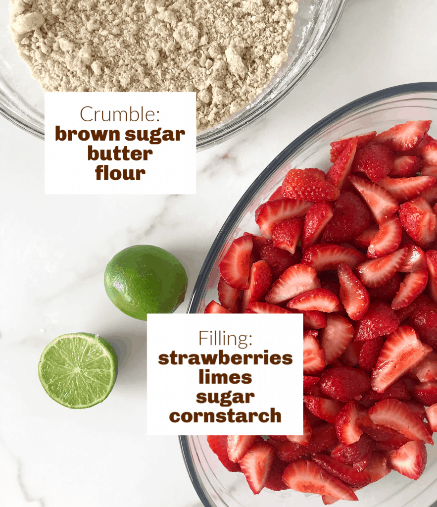 Image with text; limes, dish with strawberries, bowl with crumble