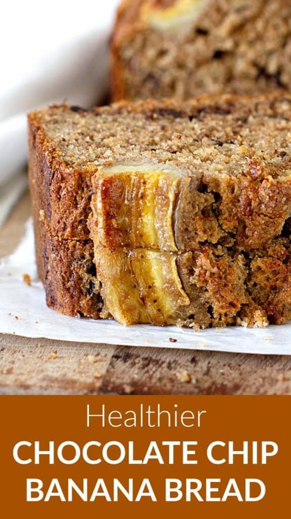 Stack of banana bread slices on parchment paper, wooden board