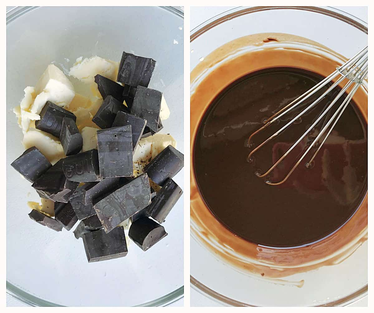 Image collage of glass bowl with butter and chocolate pieces, and already melted ingredients with wire whisk