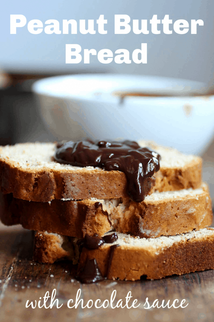 Stack of peanut bread slices with chocolate sauce, wooden table, image with text