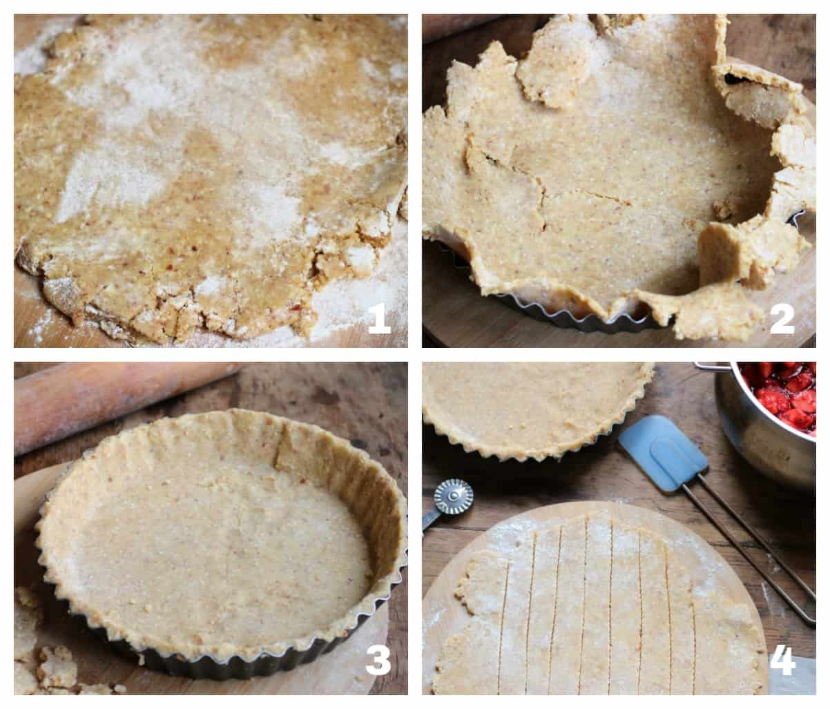 Image collage of pie rolling and pan lining process