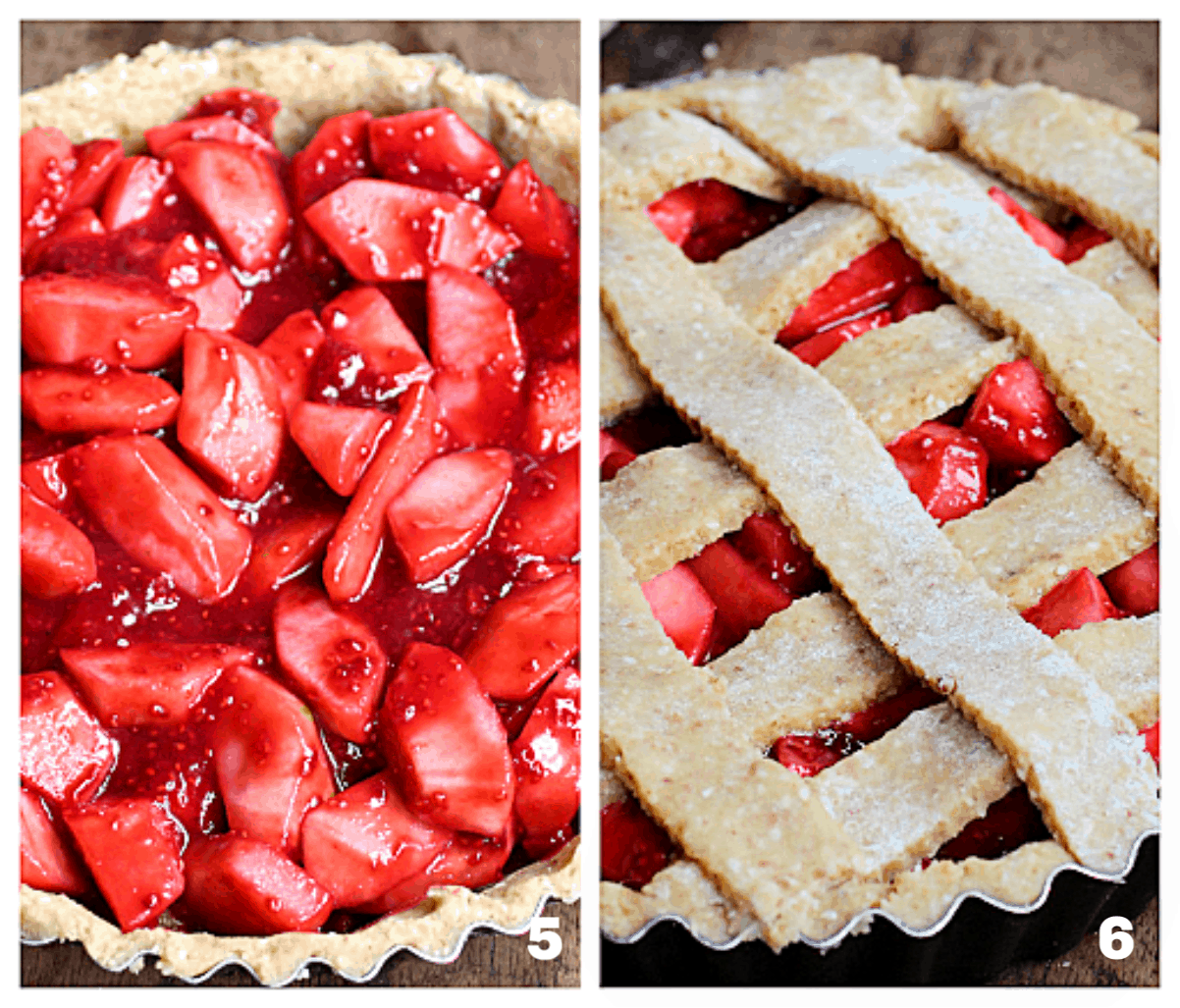 Image collage of raw pie dough with red filling: lattice top over filling