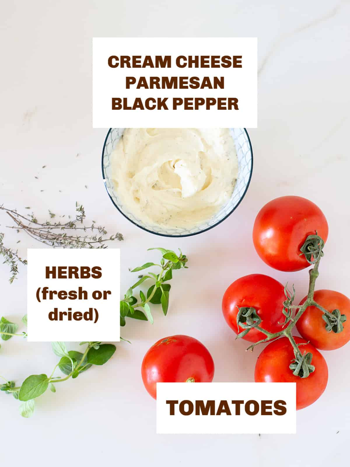 tomatoes, bowl with soft cheese, herbs, white surface, image with text