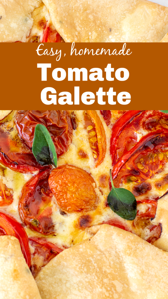 Partial view of tomato galette with herbs; image with text