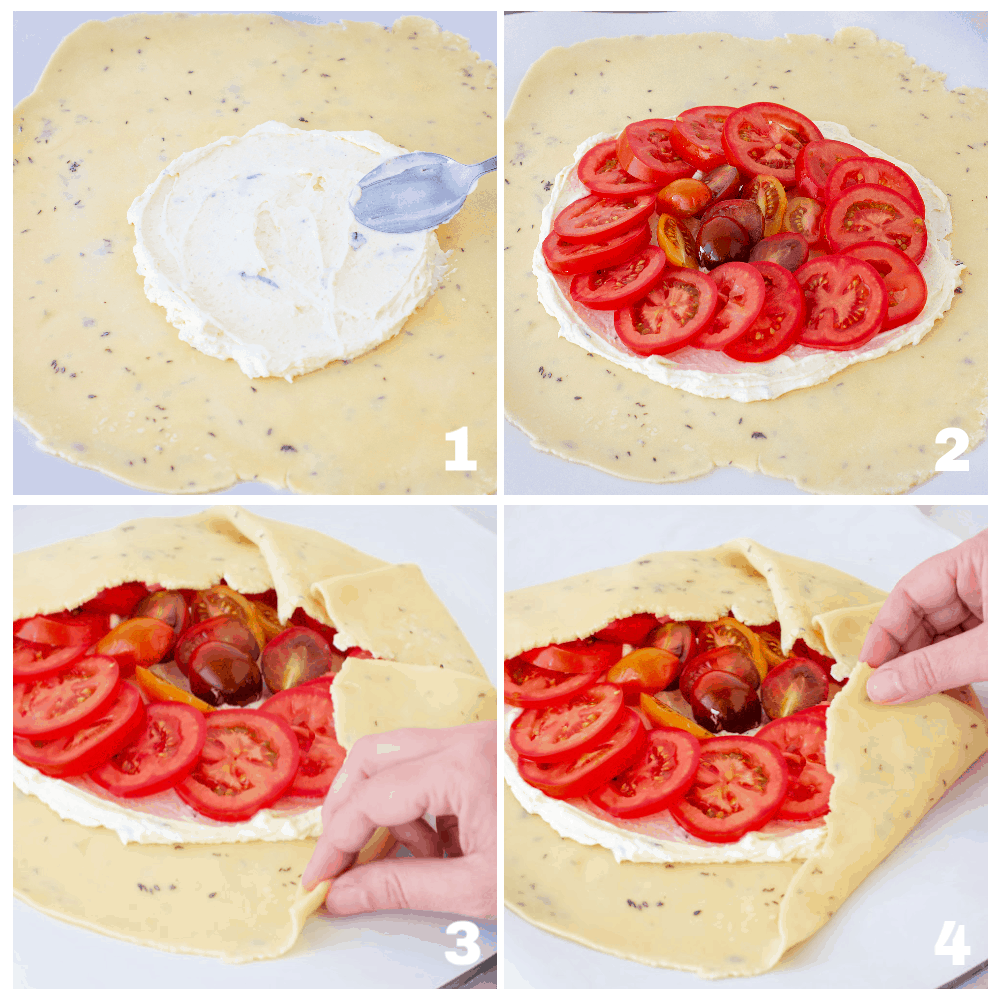image collage, making tomato galette, pie dough with tomato and cheese filling