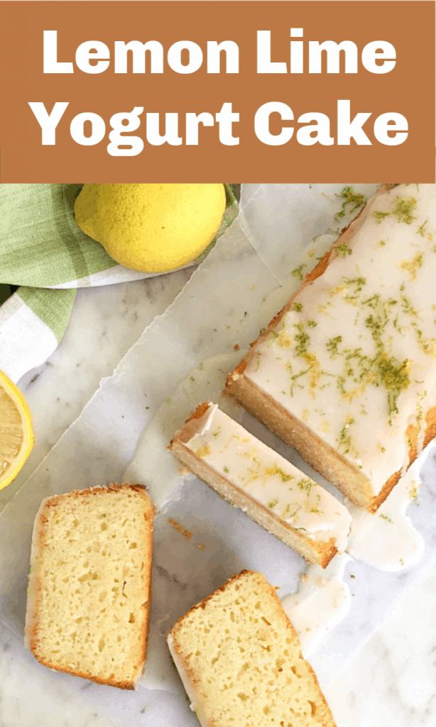 Slices and piece of lemon loaf cake on white surface, image with text