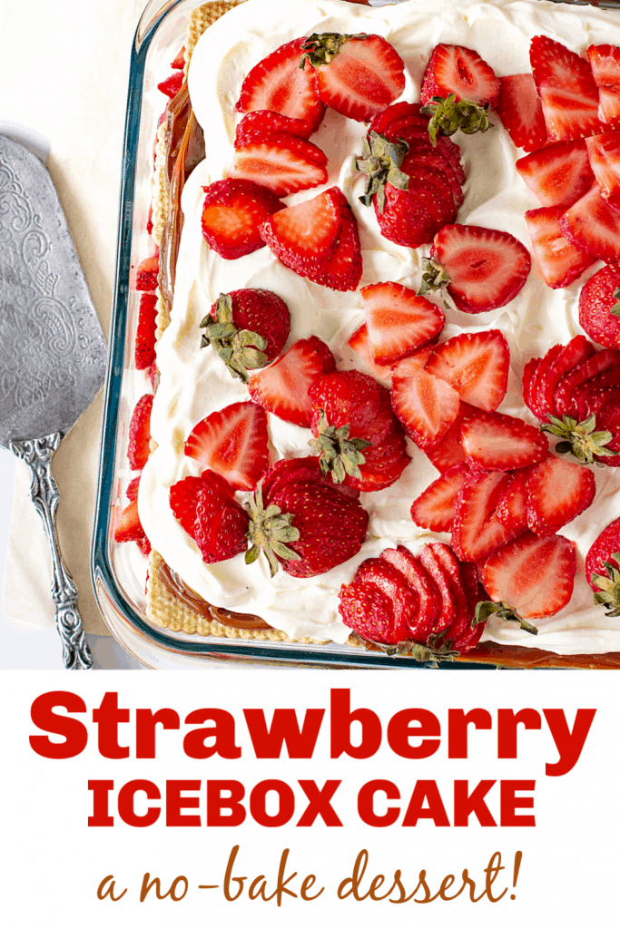 A glass dish with a strawberry cream dessert, image with red text