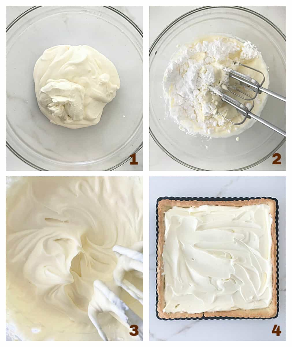 Image collage: glass bowl with cream and sugar, beaten whipped cream, and tart shell with cream