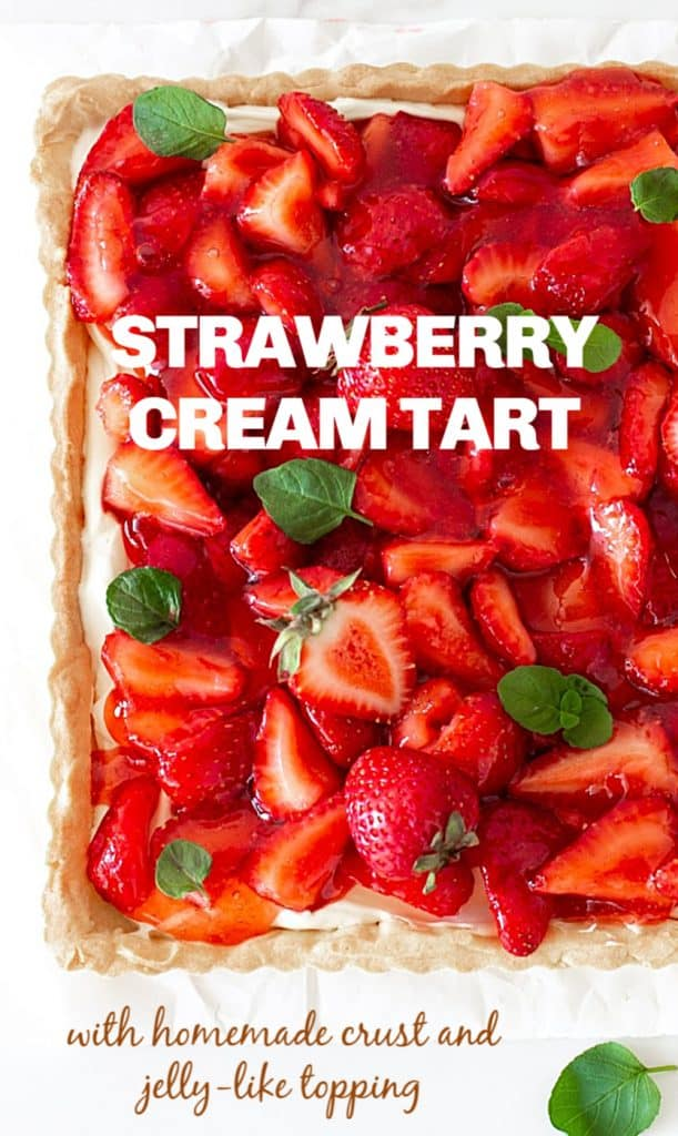 Over view of square strawberry Pie garnished with mint leaves; image with text