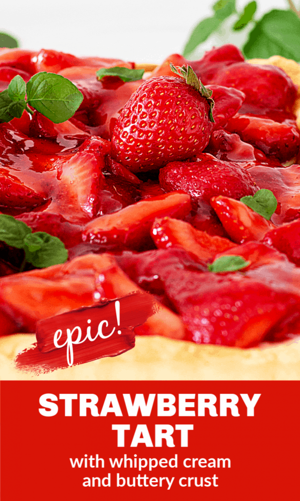 Strawberry pie close-up image with mint leaves; text beneath
