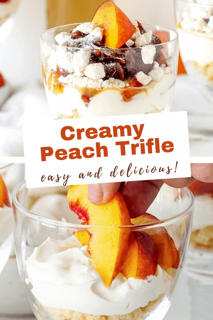 Glasses with cream and peach dessert, image with text