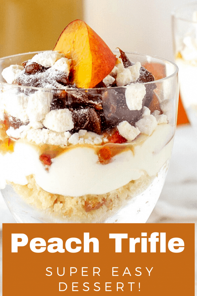 Close up of peach trifle in a glass, image with text