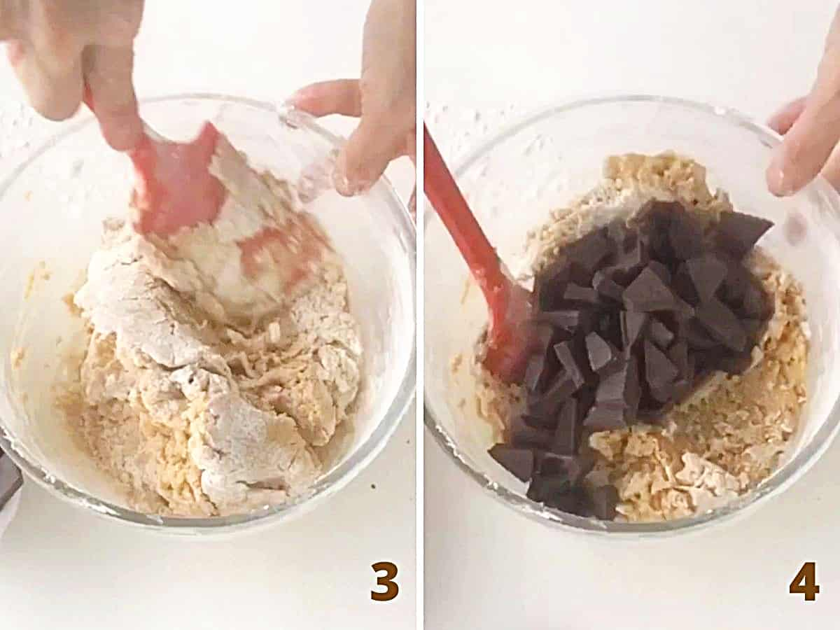 Mixing almond butter chocolate chunk cookie dough with red spatula in glass bowl