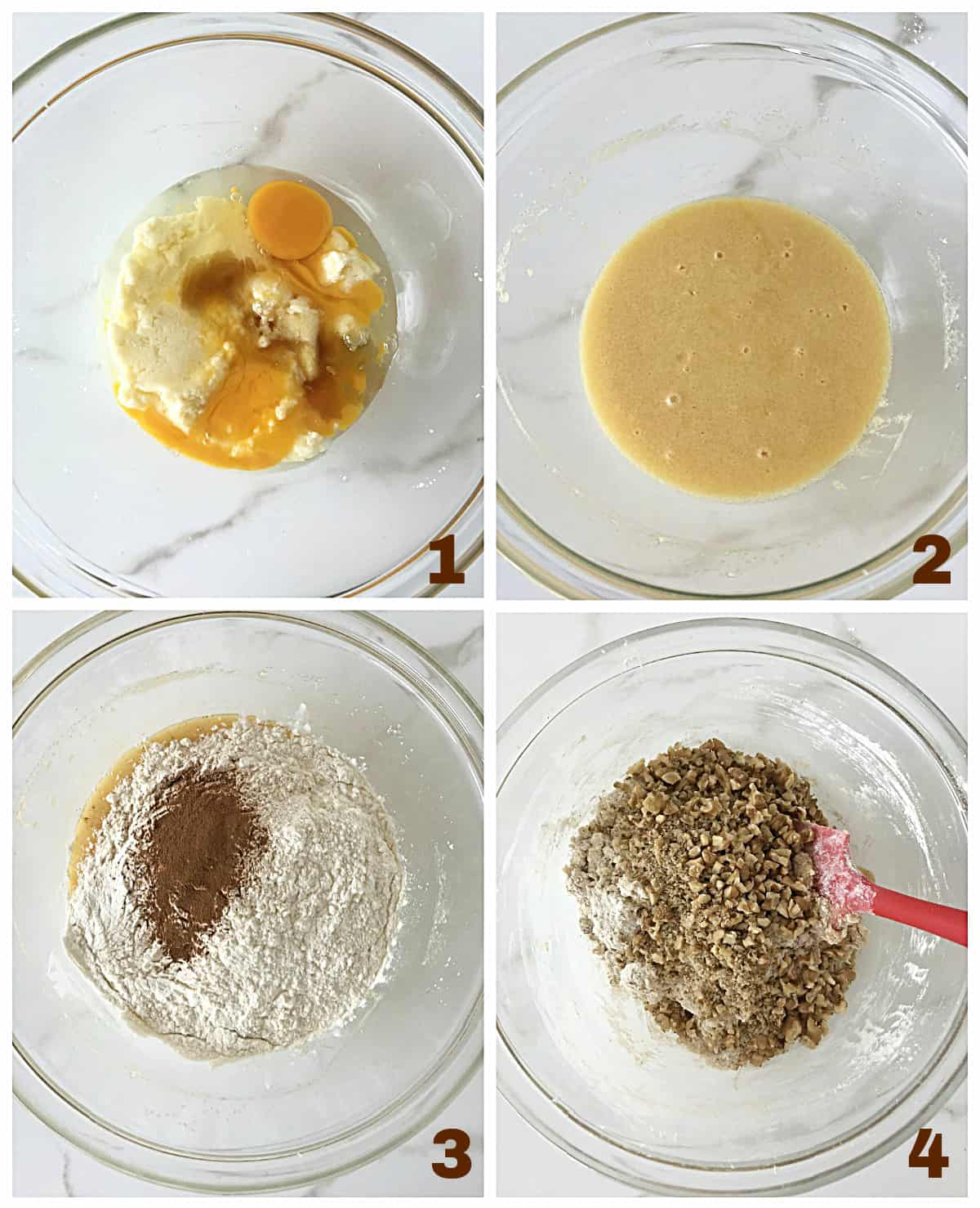 Image collage of cinnamon dough process. Glass bowl with butter and eggs, mixed liquid ingredients, added dry ingredients, walnuts and red spatula