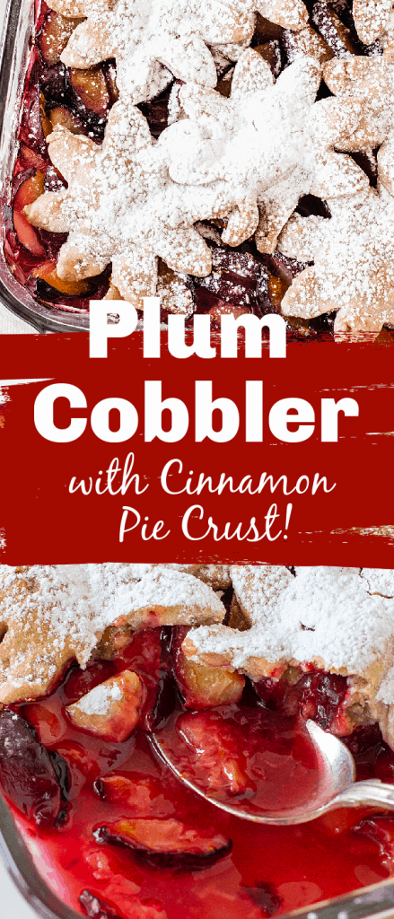 Plum cobbler in dish, a silver spoon, powdered sugar crust topping. Image collage with text
