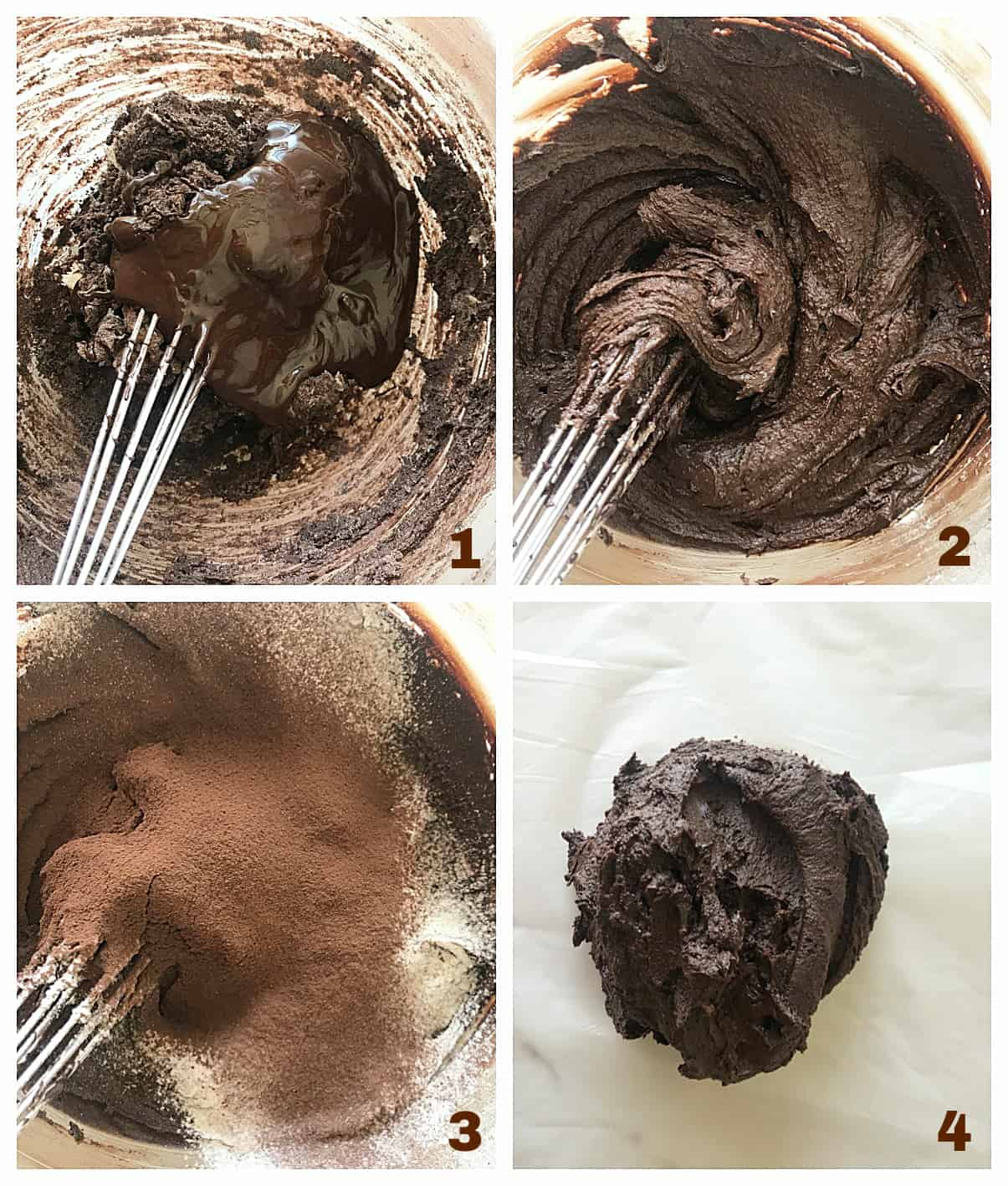 Image collage of 4 process steps making chocolate cookies, glass bowl and metal whisk