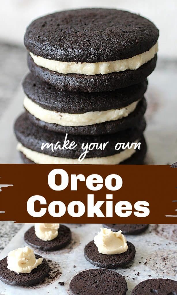 Image collage of homemade oreo cookies, with text