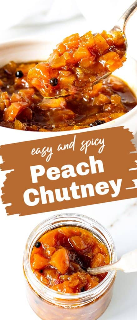 Glass jar and white bowl with peach chutney, 2 images with text