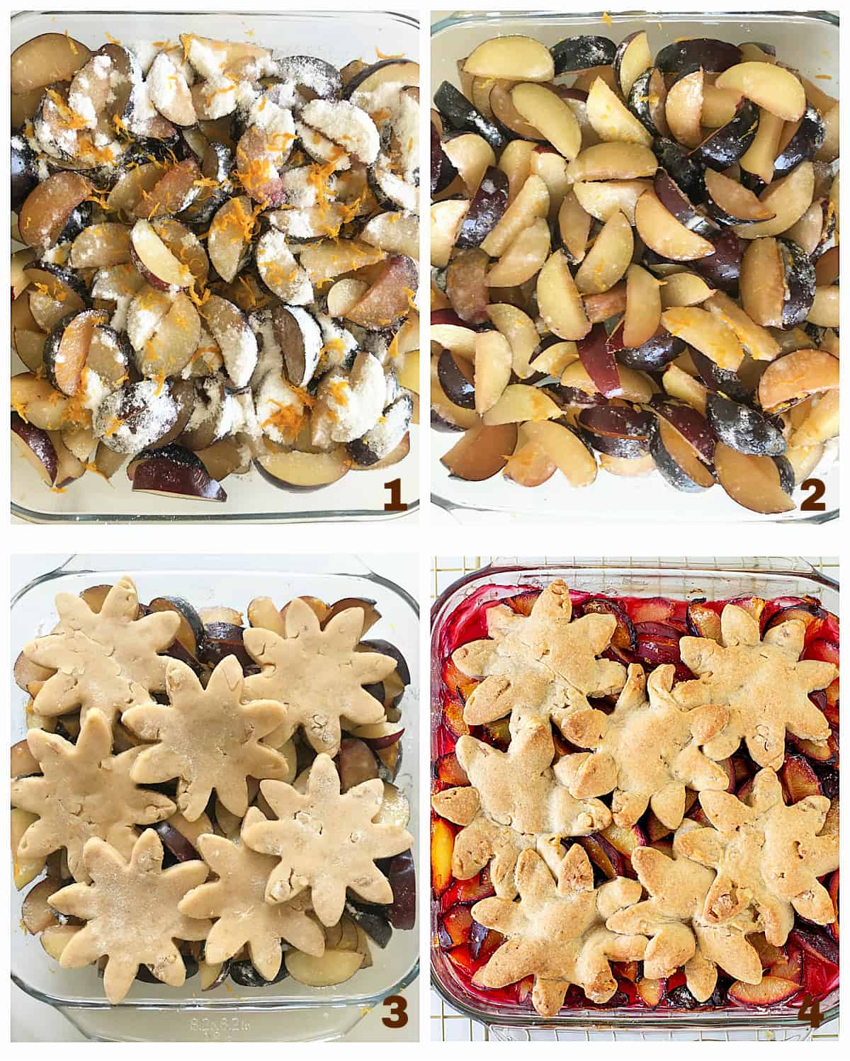 Image collage of 4 photos with sliced plums in glass dish, topped with dough flowers and already baked dessert