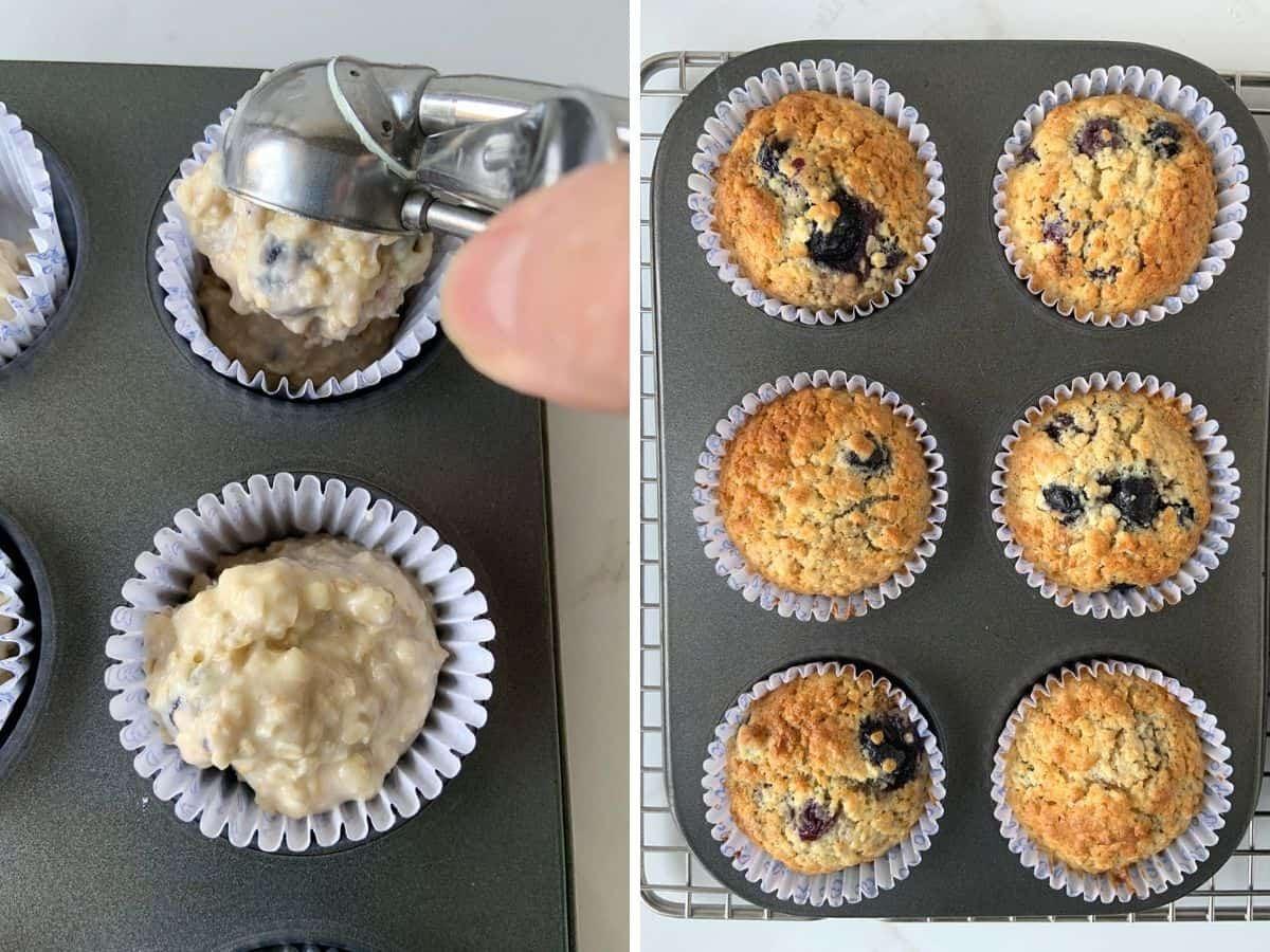 Collage of blueberry muffin proccess, scooping batter into pan and baked muffins