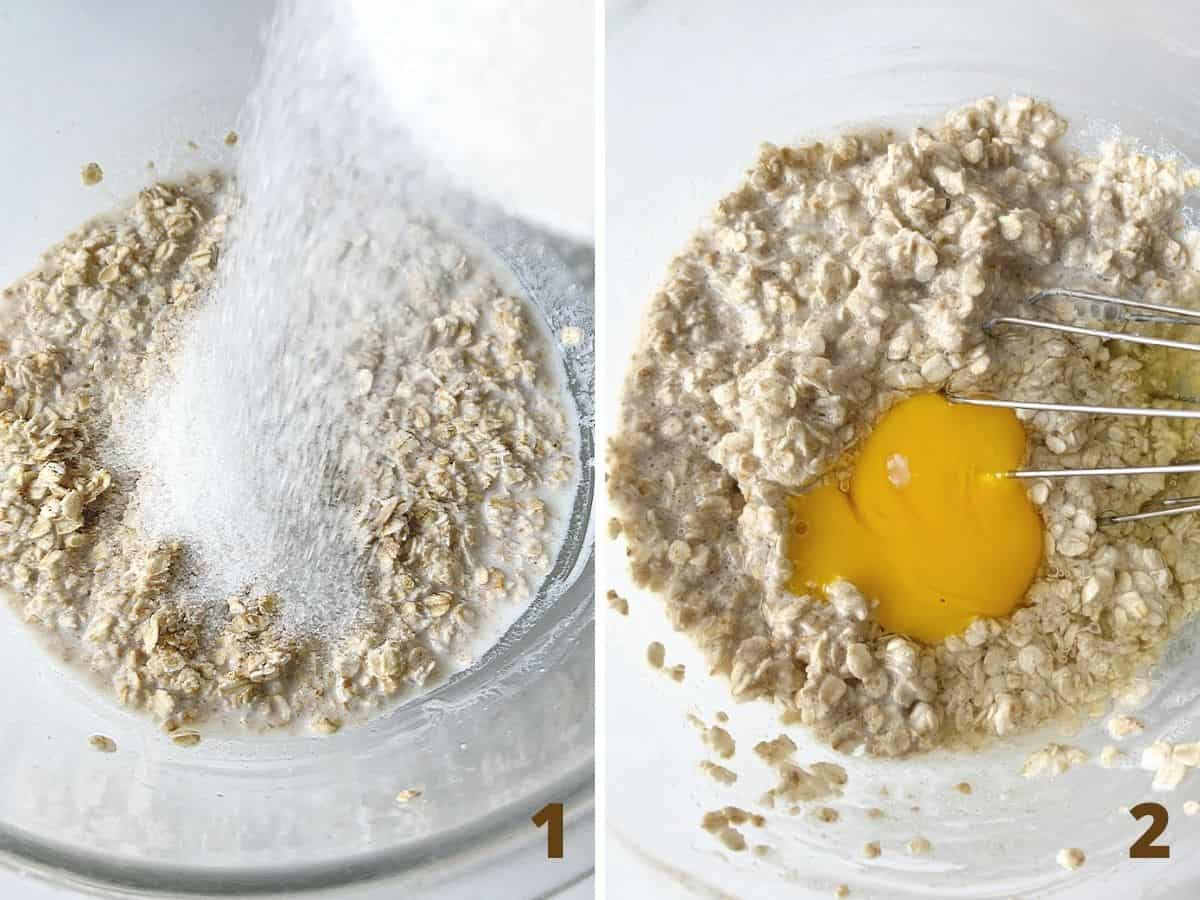 Two image collage adding sugar to oatmeal and then eggs