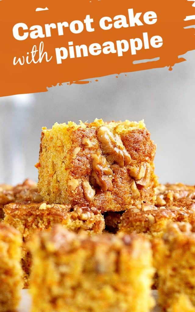Squares of carrot cake with walnuts, grey background, image with text