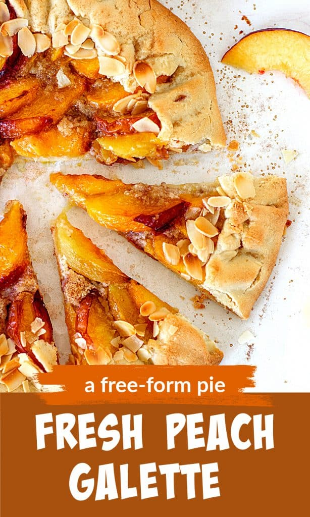 Partial view of peach open tart with almonds; image with text