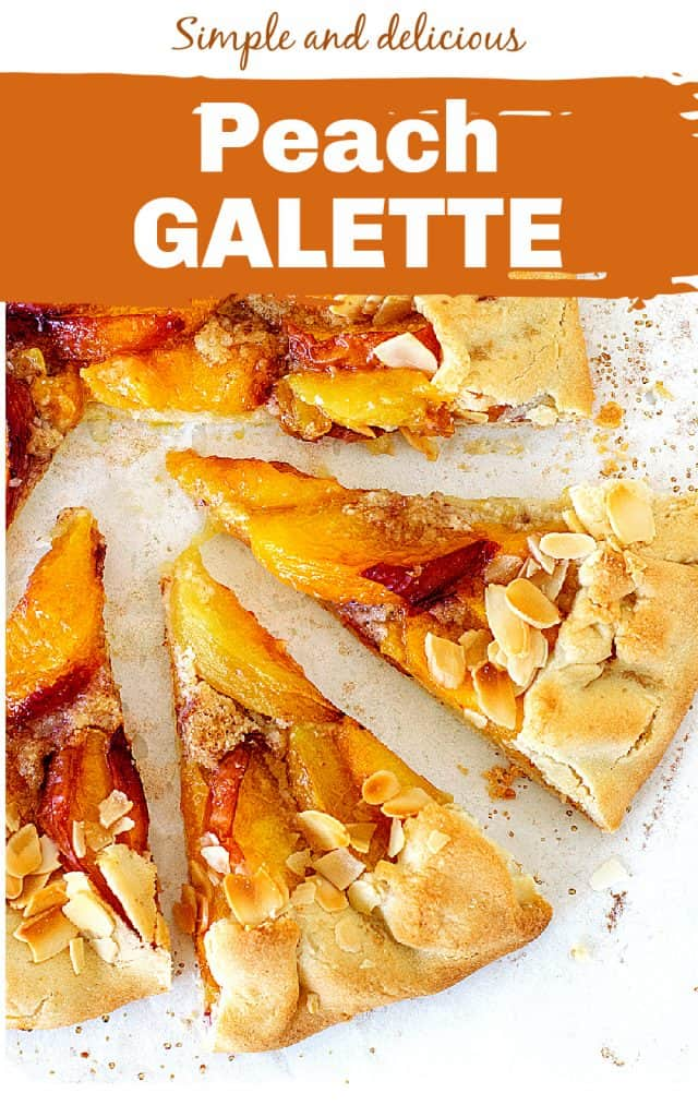 Two slices of peach galette on a white surface; image with text