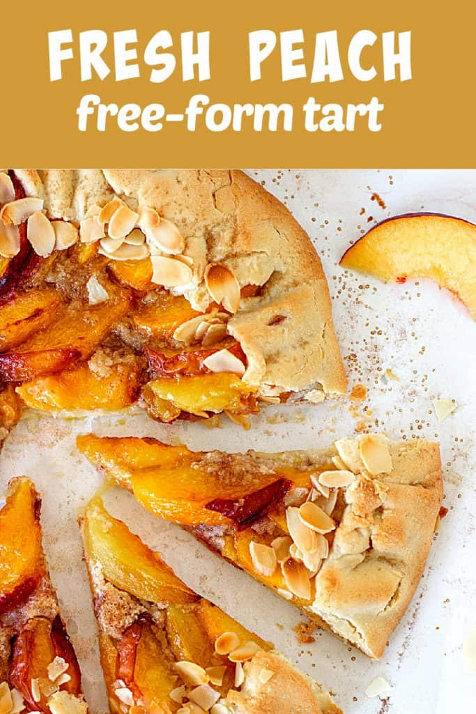 Cut slices of peach galette on white surface, almonds on top; image with text