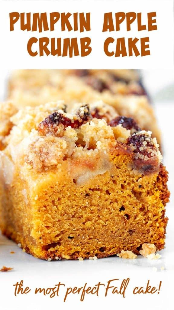 Close up of square of pumkin crumb cake, white background; image with text