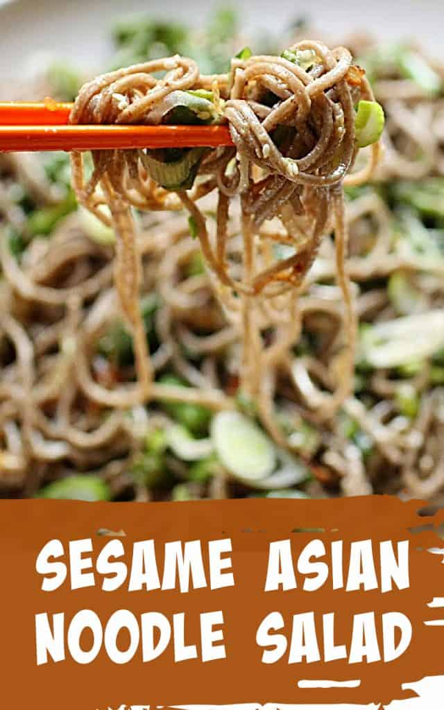 Orange chopsticks holding soba noodle salad, image with text