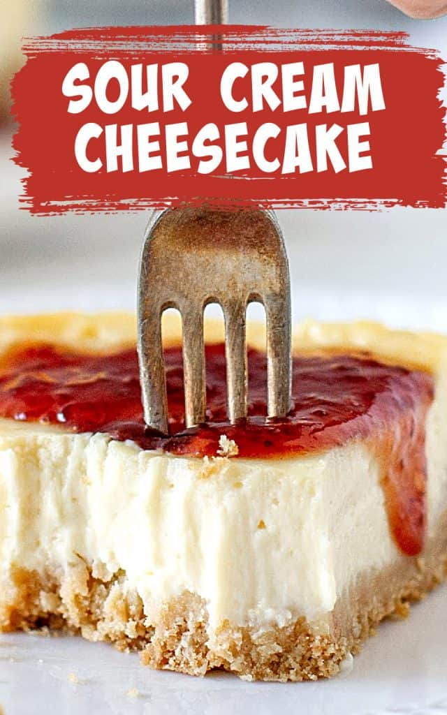 Close up of eaten cheesecake slice with red jam and silver fork; image with text