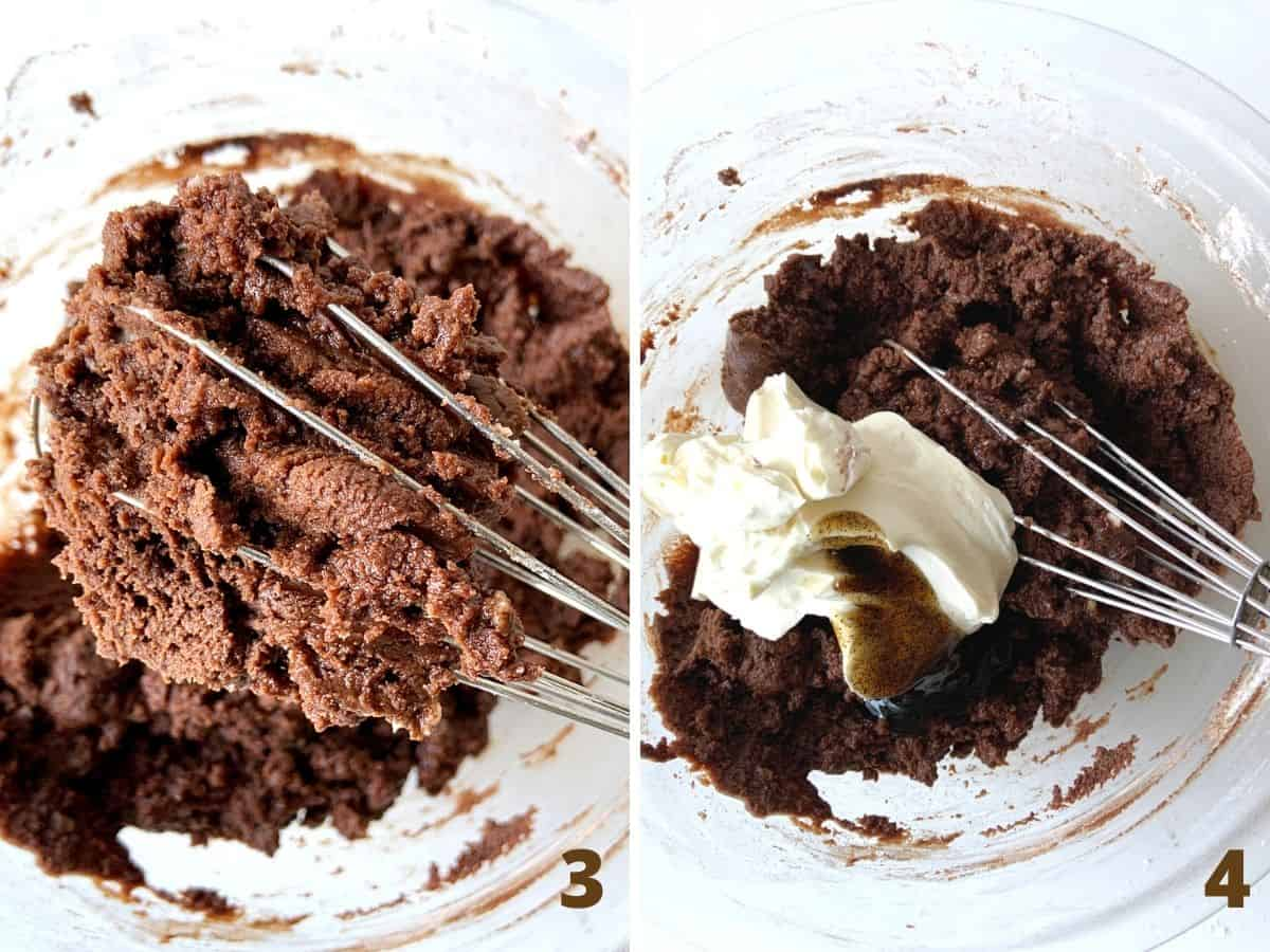Glass bowl with whisk showing partially beaten chocolate frosting, and sour cream added to it